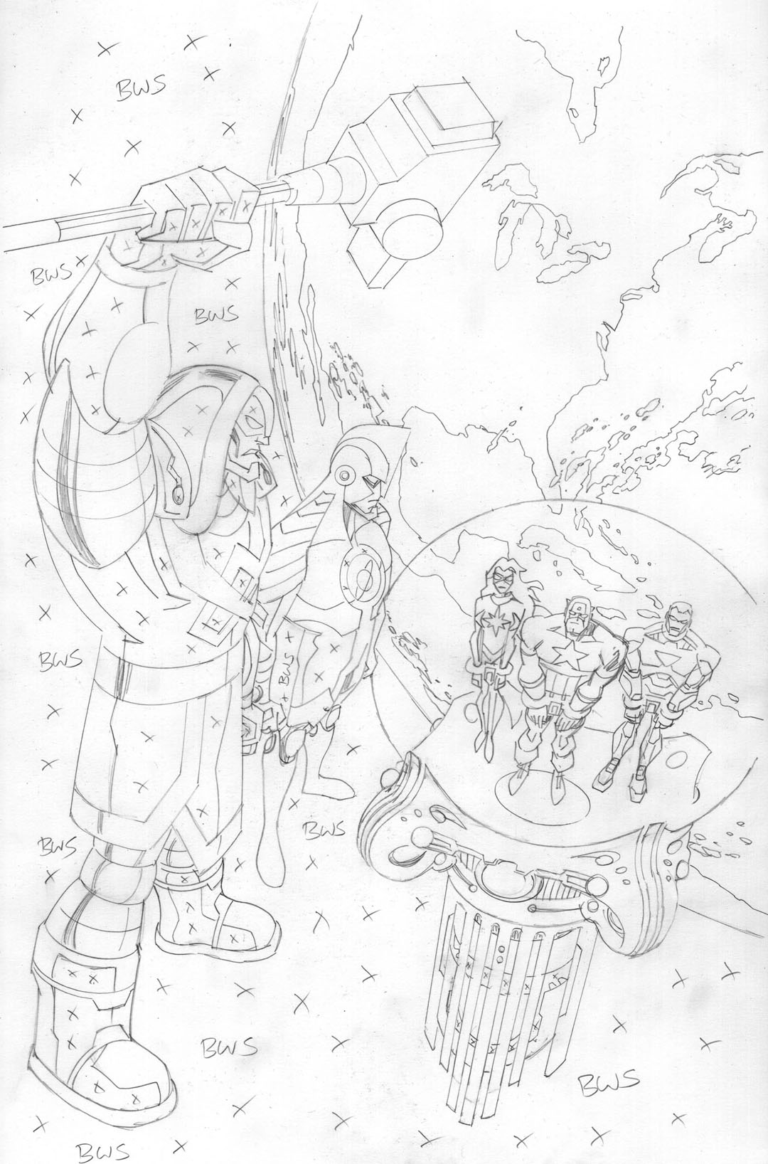 Avengers EMH - Ronan Cover pencils 100