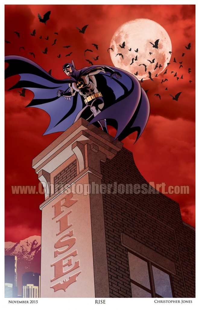 """""""Rise"""" Art print, depicting Batman on a building ledge, with the word """"RISE"""" on the side of the building. The sky is red and cloudy."""
