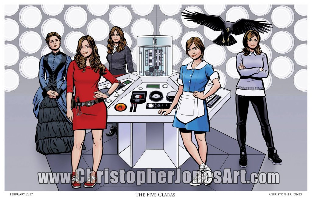Christopher Jones The Five Claras Doctor Who Art Print