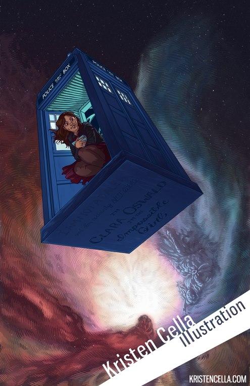 Clara Oswald in the TARDIS by Kristen Cella Illustration